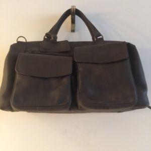 LL Bean Brown Leather Travel Bag